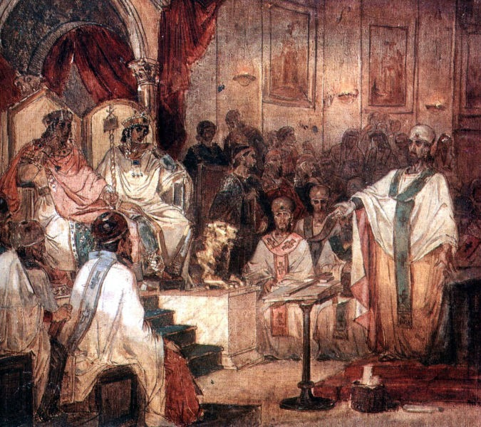 Fourth Ecumenical Council of Chalcedon (AD 451), 1876 painting by Vasily Surikov - foto preluat de pe en.wikipedia.org