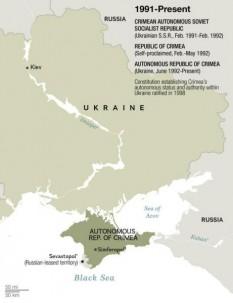 Peninsula Crimeea, cunoscută sub denumirea de Crimeea, se află pe coasta de nord a Mării Negre. Peninsula este localizată la sud de Regiunea Herson, Ucraina și la vest de regiunea Kuban, Rusia. Ea este unită cu regiunea Herson prin Istmul Perekop și separată de Kuban prin Strâmtoarea Kerci. Peninsula este înconjurată de două mări: Marea Neagră (la vest și sud) și Marea Azov (la est) - foto: cersipamantromanesc.wordpress.com