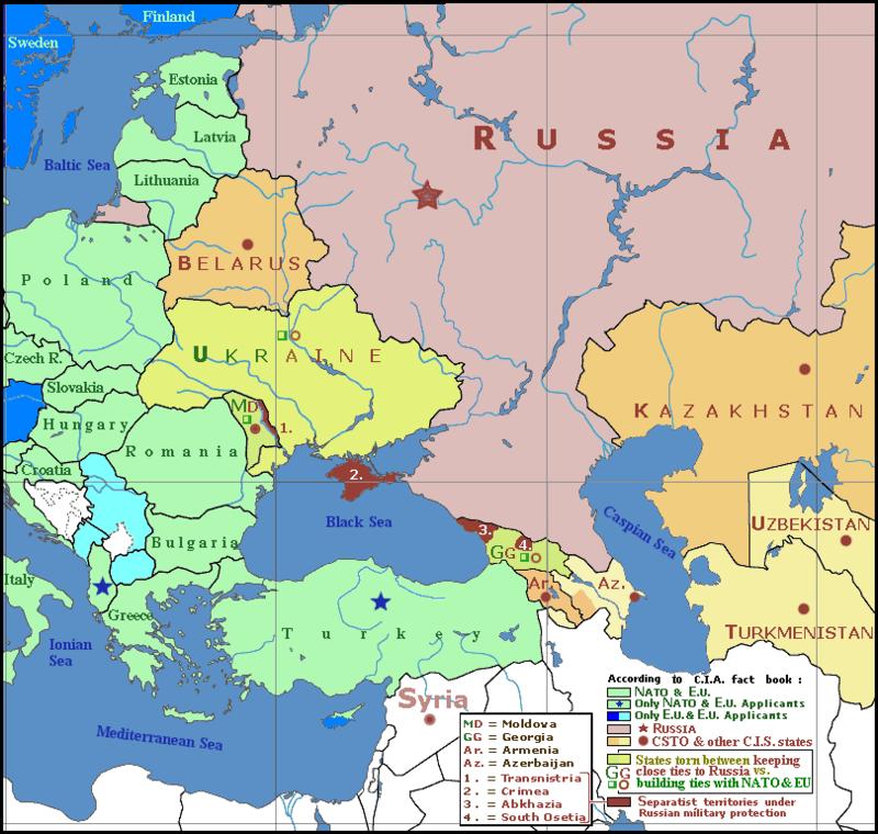 Crimeea (oficial Republica Autonomă Crimeea, este o republică autonomă a Ucrainei, dar care ca urmare a crizei din 2014 a intrat, în urma unui referendum controversat, în cadrul Rusiei. Crimeea ocupă peninsula omonimă din nordul Mării Negre. Capitala republicii este Simferopol. Se află pe coasta de nord a Mării Negre. Peninsula este localizată la sud de Regiunea Herson, Ucraina și la vest de regiunea Kuban, Rusia. Ea este unită cu regiunea Herson prin Istmul Perekop și separată de Kuban prin Strâmtoarea Kerci. Peninsula este înconjurată de două mări: Marea Neagră (la vest și sud) și Marea Azov (la est) - foto: ro.wikipedia.org