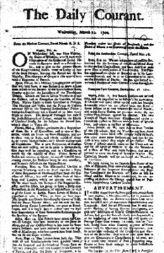 """11 martie 1702 – A apărut (până în 1735), la Londra, primul cotidian englez, """"Daily Courant"""" - foto: cersipamantromanesc.wordpress.com"""