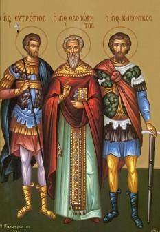 Sfântul Mucenic Eutropiu, Sfântul Sfințit Mucenic Teodoret, Sfântul Mucenic Cleonic. Prăznuirea lor de către Biserica Ortodoxă se face la data de 3 martie - foto: doxologia.ro