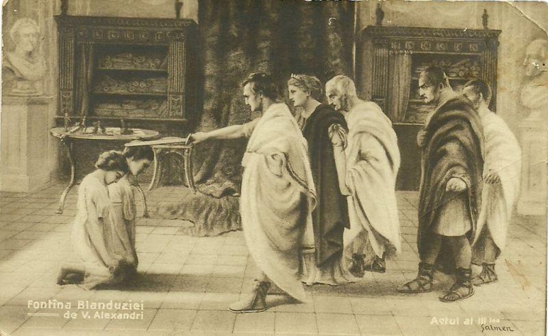 """O ilustrată interbelică cu o imagine din spectacolul """"Fântâna Blanduziei"""" de Vasile Alecsandri - foto: hetel.ro"""