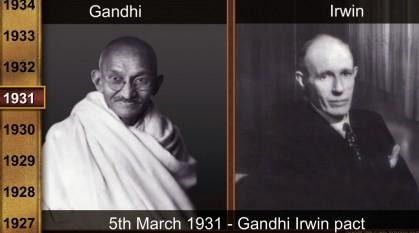 """5 martie 1931: """"Pactul de la Delhi"""" încheiat de Mahatma Gandhi cu E.Irwin, viceregele Indiei, privind suspendarea campaniei de nesupunere civilă începută în martie - aprilie 1930, organizarea unei consfătuiri a delegaților Congresului cu guvernul britanic - foto: rs5hiland.blogspot.ro"""