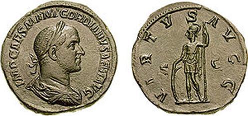 Marcus Antonius Gordianus Sempronianus Romanus Africanus (c.192 - 12 aprilie, 238), cunoscut sub numele de Gordian II, a fost un împărat roman în anul 238 (Anul celor șase împărați). El a fost fiul lui Gordian I. Gordian II a fost fiul lui Gordian I și al Fabiei Orestilla. El era de asemenea fratele mai mare al Antoniei Gordiana și unchiul viitorului împărat, Gordian al III-lea - in imagine, Gordian II pe o monedă, celebrând succesele sale militare - foto: ro.wikipedia.org