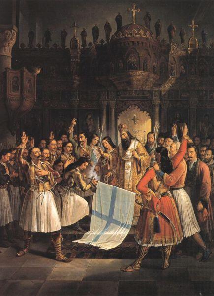 Theodoros Vryzakis (pictură în ulei, 1849) - Sfinţirea steagului grecesc de către Mitropolitul Germanos din Patras, la Agia Lavra (locul revoltei naţionale împotriva turcilor din 25 martie 1821) - foto: ro.wikipedia.org