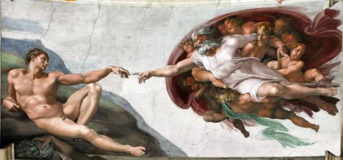 Michelangelo - Crearea lui Adam - Capela Sixtină, Vatican - foto: ro.wikipedia.org