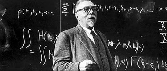 Norbert Wiener (n. 26 noiembrie 1894 în Columbia, Missouri - d. 18 martie 1964 în Stockholm) a fost un matematician american. Wiener este recunoscut ca întemeietorul ciberneticii, principiul de bază fiind descris în opera sa Cybernetics or Control and Communication in the Animal and the Machine (1948) - foto: cersipamantromanesc.wordpress.com