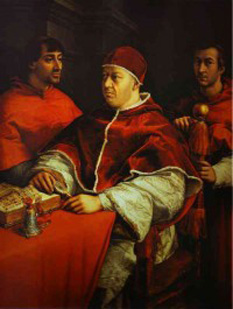 Papa Leon al X-lea (11 Decembrie 1475 - 1 Decembrie 1521), născut cu numele de Giovanni di Lorenzo de' Medici, a fost capul Bisericii Catolice din 9 martie 1513 până la moartea sa în 1521. Cel de-al doilea fiu al lui Lorenzo de' Medici, conducătorul Republicii Florentine, acesta a fost ridicat la rangul de cardinal în anul 1489. După moartea Papei Iulius al II-lea, Giovanni a fost ales Papă după asigurarea sprijinului membrilor mai tineri ai Colegiului Cardinalilor - in imagine, Papa Leon al X-lea (portret de Raffaello Sanzio) -  foto: cersipamantromanesc.wordpress.com