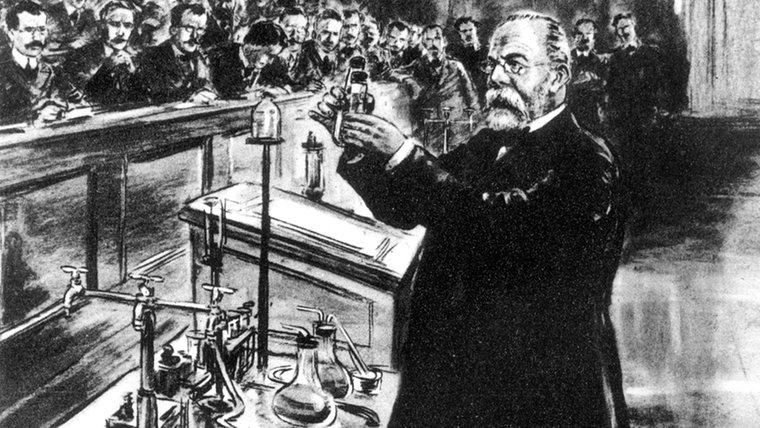 Robert Koch (n. 11 decembrie 1843, Clausthal, Saxonia Inferioară – d. 27 mai 1910, Baden-Baden) a fost un bacteriolog german. A studiat la Göttingen, avându-l ca profesor pe Jacob Henle care afirma în 1840 că rănile sunt infectate de niște organisme parazite - foto: ndr.de