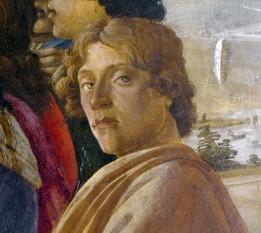 """Sandro Botticelli - de fapt Alessandro di Mariano Filipepi - (n. 1 martie 1445, Florența - d. 17 mai 1510, Florența) a fost un pictor italian, unul din cei mai mari reprezentanți ai Renașterii italiene. Frumusețea și grația figurilor create de el, precizia liniilor și redarea mișcării fac din lucrările sale o operă ce simbolizează pictura epocii. Caracteristic artei lui Botticelli este și faptul că figurile pictate de el prezintă profunde sentimente umane. Personajele sale cu chipuri ușor melancolice au, în general, o expresie visătoare, Botticelli ne apare ca un cercetător atent al sufletului omenesc. Operele sale, inspirate de teoriile neoplatonice ale lui Marsilio Ficino, animator al """"Academiei Florentine"""", atestă sensibilitatea deosebită și bogata viață lăuntrică a artistului - in imagine, Sandro Botticelli: Autoportret. Detaliu din compoziţia Adoraţia magilor, 1475 - Galeria Uffizi, Florența - foto: ro.wikipedia.org"""