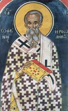 Cel întru sfinți părintele nostru Sofronie I al Ierusalimului a fost patriarh al Ierusalimului între anii 634-638. A fost patriarh atunci când Ierusalimul a căzut în mâinile sarazinilor, sub conducerea lui Omar I, în 637. A fost un hotărât luptător împotriva ereziei monotelite. Prăznuirea sa în Biserica Ortodoxă se face pe 11 martie - foto: basilica.ro