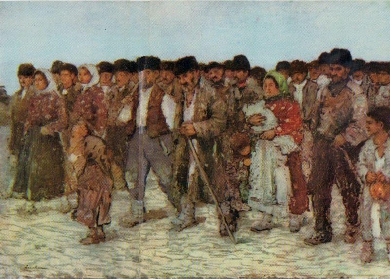 """""""La impartitul porumbului"""" (Ștefan Luchian) care reprezintă un grup de țărani, îndreptându-se spre conac pentru a primi rațiile de porumb - foto preluat de pe ro.wikipedia.org"""