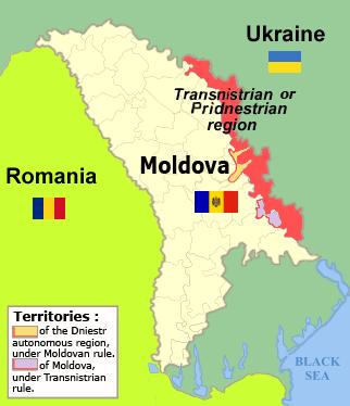 Harta regiunii separatiste transnistrene (marcată cu roșu) - foto preluat de pe ro.wikipedia.org
