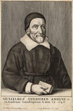 """William Oughtred (n. 5 martie 1574 - d. 30 iunie 1660) a fost un matematician englez. I se atribuie crearea, în 1622, a riglei de calcul, invenție ce a avut la bază logaritmii descoperiți de John Napier și scala logaritmică descoperită de Edmund Gunter. De asemenea, Oughtred a introdus semnul """"×"""" pentru operația de înmulțire și prescurtările sin, cos pentru funcțiile trigonometrice sinus și cosinus. Printre alte preocupări ale lui Oughtred s-au numărat astrologia și alchimia - foto: ro.wikipedia.org"""