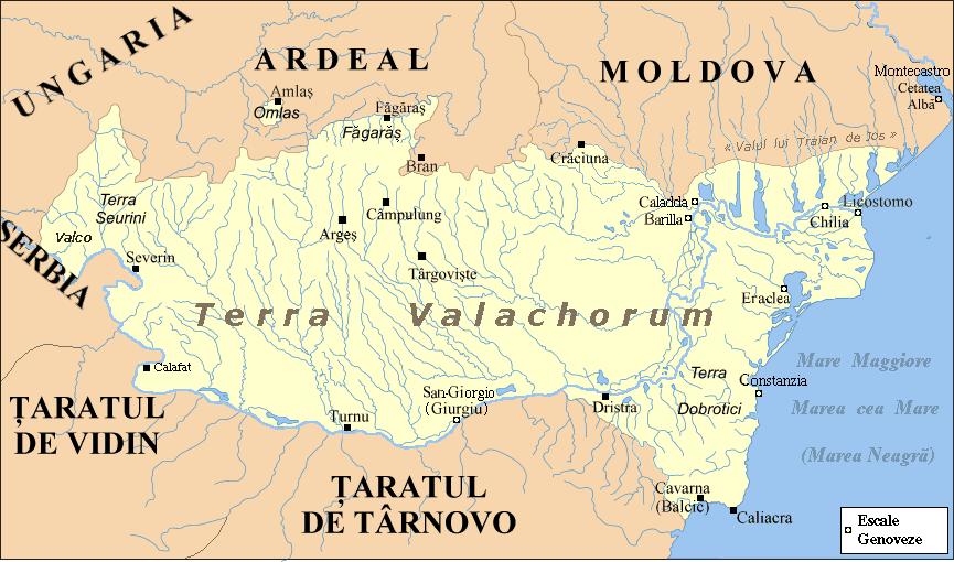 Ţara Românească în timpul lui Mircea cel Bătrân (întindere maximă după 1404) - foto preluat de pe ro.wikipedia.org