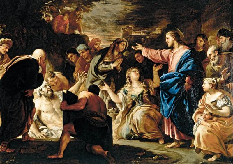 The Raising of Lazarus - Oil on canvas of Luca Giordano. 1675 c. Naples, from private collection. Italy - foto preluat de pe en.wikipedia.org