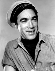 Anthony Quinn (n. 21 aprilie 1915 - d. 3 iunie 2001) a fost un actor american de teatru și film, de origine mexicană, dublu laureat al premiului Oscar. Antonio Rodolfo Ouinn Oaxaca, pe numele său adevărat, el s-a născut în Chihuahua în timpul Revoluției Mexicane fiind cunoscut și ca pictor sau scriitor, dar mai ales pentru activitatea sa cinematografică, pentru roluri memorabile în filme precum: Zorba Grecul, Ultimul tren din Gun Hill, Lawrence al Arabiei, Tunurile din Navarone, The Message, Secretul din Santa Vittoria, Cocoșatul de la Notre Dame, La strada și altele. A câștigat premiul Academiei Americane de Film pentru rolurile secundare interpretate în peliculele Viva, Zapata! în anul 1952 și Poftă de viață în 1956 - in imagine, Anthony Quinn, c. 1955 - foto: en.wikipedia.org