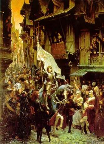 Asediul Orléans-ului (în engleză Siege of Orléans, în franceză Siege d'Orléans) și eliberarea ulterioară de către trupele Ioanei d'Arc a marcat un punct de cotitură în Războiul de 100 de Ani. Eliberarea Orléans-ului a fost primul succes major al trupelor franceze după înfrângerea dezastruoasă de la Azincourt din 1415. Situația disperată a Orléans-ului, care avea o mare importanță strategică și morală pentru poporul francez, a fost salvată de apariția bruscă pe scena politică a țărancei Ioana d'Arc în fruntea trupelor franceze, care într-un timp scurt au ridicat asediul orașului. Contemporanii cred că, Orléans-ul odată căzut, precum și încoronarea lui Henric al VI-lea, fiul regelui Henric al V-lea al Angliei, ar fi sfârșit independența Franței ca stat - in imagine, Ioana intră învingătoare în Orléans - foto: ro.wikipedia.org
