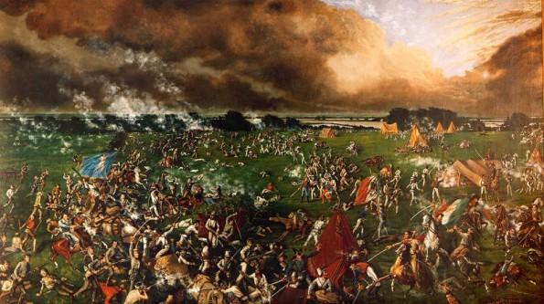 """Bătălia de la San Jacinto, din ziua de 21 aprilie 1836, din actualul comitat Harris din statul Texas, a fost bătălia decisivă a Revoluției Texane. În frunte cu generalul Sam Houston, armata Texasului a atacat și a învins forțele mexicane ale generalului Antonio López de Santa Anna într-o luptă care a durat doar optsprezece minute. Circa 700 de soldați mexicani au murit, și 730 au căzut prizonieri, în timp ce doar nouă texani au murit. Santa Anna, președintele Mexicului, a căzut prizonier a doua zi. După trei săptămâni, el a semnat tratatele de pace care au dictat părăsirea regiunii de către armata mexicană, deschizând calea spre independența Republicii Texas. Aceste tratate nu au recunoscut efectiv independența Texasului, dar au stipulat ca Santa Anna se angajează să facă lobby în acest sens la Ciudad de Mexico. Sam Houston a devenit o celebritate națională, iar strigătele de luptă ale texanilor, """"Remember the Alamo!"""" și """"Remember Goliad!"""" au rămas în istorie - in imagine, Bătălia de la San Jacinto-pictură din 1895 de Henry Arthur McArdle (1836-1908) - foto: ro.wikipedia.org"""