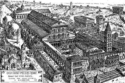 Bazilica Sfântul Petru din Roma. O gravură medievală a vechii bazilici - foto: ro.wikipedia.org