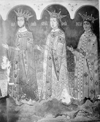 Ștefăniță (mijloc) flancat de tatăl și unchiul său (Bogdan cel Orb, Stefan cel Tânăr and Petru Rareş in St Nicholas church, Dorohoi) - foto: ro.wikipedia.org