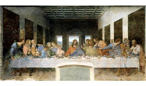 Cina cea de taină (în italiană Il Cenacolo sau La Ultima Cena) este o pictură murală a lui Leonardo da Vinci, realizată pentru patronul său, ducele Ludovico Sforza din Milano, una din cele mai celebre picturi din istoria universală a artelor, se găsește în fosta sală de mese a bisericii dominicane Santa Maria delle Grazie din Milano - foto: ro.wikipedia.org
