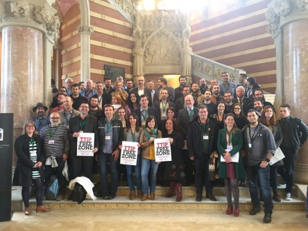 """The meeting was held in Barcelona and was the first pan-European Meeting of """"Local Authorities and the New Generation of Free Trade Agreements"""". (Photo: Helena Spongenberg) - euobserver.com"""