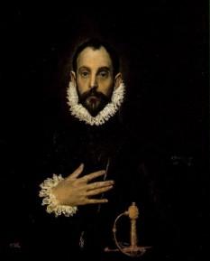 """El Greco (nume în spaniolă influențat de italienescul- """"Il Greco"""" - Grecul), (* 1541, Candia azi Heraklion / Creta - † 7 aprilie 1614, Toledo / Spania), a fost un pictor spaniol manierist de origine greacă, personalitate misterioasă, atât sub aspectul specificului stilului său, cât și din pricina biografiei lui incomplete. Cunoscut mai ales datorită picturilor sale pe teme religioase și ca portretist, contribuțiile lui în domeniul sculpturii și arhitecturii au fost, din păcate, date uitării - in imagine, El Greco: Bărbat nobil cu mâna pe piept (presupus autoportret), 1576-79 - Museo del Prado, Madrid - foto: ro.wikipedia.org"""