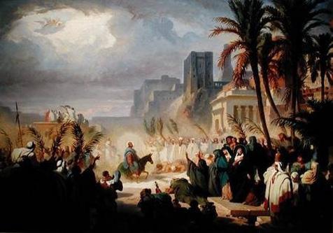 """""""Intrarea în Ierusalim"""" de Félix Louis Leullier [Félix Leullier Louis (n. 1811 - d. 1882) a fost un pictor francez care a pictat cea mai mare parte subiecte religioase. El este un reprezentant al curentului romantic fiind un elev al lui Antoine-Jean Gros (1771 – 1835)] - foto preluat de pe ro.wikipedia.org"""