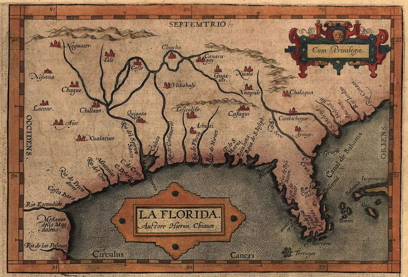Map of Florida, likely based on the expeditions of Hernando de Soto (1539-1543) - foto: en.wikipedia.org