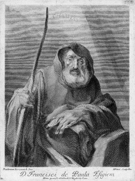 Sfântul Francisc din Paola (n. 1416, Paola, Calabria, Italia, d. 1507, Plessis-les-Tours, Franța), a fost un pustnic italian, întemeietor ordinului călugăresc al minimilor, în 1436 - foto; ro.wikipedia.org