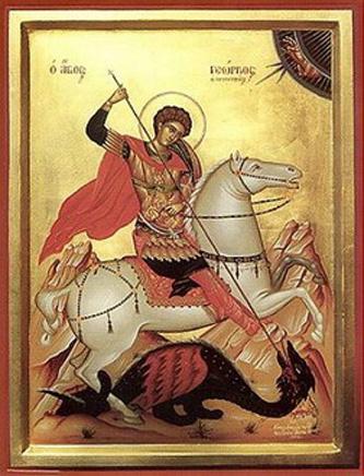 """Sfântul Mare Mucenic Gheorghe (+ 303), supranumit """"purtătorul de biruință"""", prăznuit în fiecare an la 23 aprilie, a trăit pe vremea împăratului Dioclețian. S-a născut în Capadocia, fiu al unor părinți creștini și învățat, din tinerețe, în dreapta credință foto preluat de pe ro.orthodoxwiki.org"""