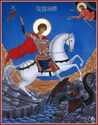 """Sfântul Mare Mucenic Gheorghe (+ 303), supranumit """"purtătorul de biruință"""" (grec. tropeophoros), prăznuit în fiecare an la 23 aprilie, este unul dintre cei mai cunoscuți și venerați apărători ai creștinismului, numeroase biserici având hramul său, iar numele său fiind îmbrățișat de mulți creștini - foto preluat de pe doxologia.ro"""