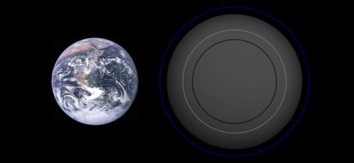 Gliese 581 e sau Gl 581 e este o planetă extrasolară care se rotește în jurul stelei Gliese 581 din constelația Balanța, aflată la 20 a-l de planeta noastră. Până în prezent, este a patra planetă din cele șase descoperite în acest sistem. Gliese 581 b este prima planetă de la stea, în jurul căreia se rotește în 3,15 zile. Planeta a fost descoperită la Observatorul din Geneva de o echipă condusă de Michel Mayor cu ajutorul instrumentului HARPS. Descoperirea a fost anunțată pe 21 aprilie 2009. Masa sa este de cca. 1,9 ori mai mare decât masa terestră și este cea mai apropiată planetă de Pământ ca mărime din jurul unei stele de pe secvența principală - in imagine, Gliese 581 e, Comparaţie cu Pământul - foto: ro.wikipedia.org