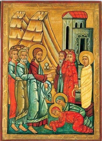 Icoana de Sâmbăta lui Lazăr. Isus este aproape de centru, cu Petru şi Ioan în spatele lui. Lazăr este în partea dreaptă legat cu învelişuri funerare. Unul dintre privitori îşi acoperă nasul său, arătând că Lazăr a murit într-adevăr (John 11:39) - foto preluat de pe ro.wikipedia.org