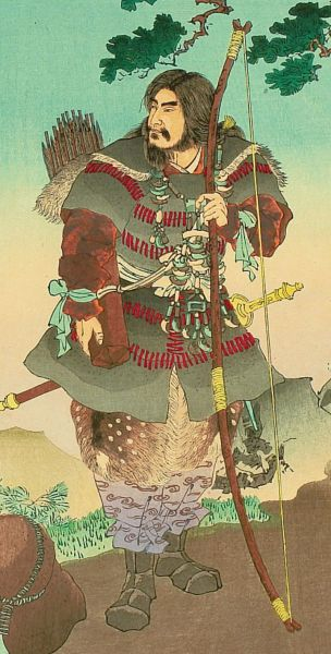 "Detail of Emperor Jinmu - Stories from ""Nihonki"" (Chronicles of Japan), by Ginko Adachi. Woodblock print depicting legendary first emperor Jimmu, who saw a sacred bird flying away while he was in the expedition of the eastern section of Japan - foto: en.wikipedia.org"