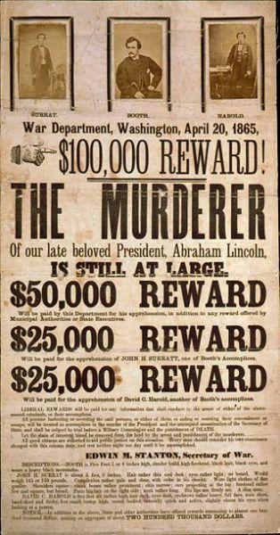14 aprilie 1865: Recompensa pentru capturarea conspiratorilor asasinatului lui Lincoln, ilustrate cu printuri fotografice ale lui John H. Surratt, John Wilkes Booth și David E. Herold - foto: ro.wikipedia.org