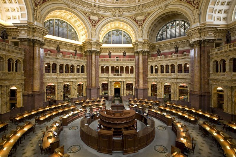 Main reading room at the Library of Congress - foto: en.wikipedia.org