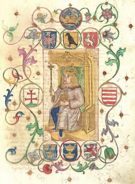 Însemnele heraldice ale lui Matia Corvin prezentate în manuscrisul german al cronicarului ungur Ioannes de Thurocz (Thuróczy János), datat 1490 - foto preluat de pe ro.wikipedia.org