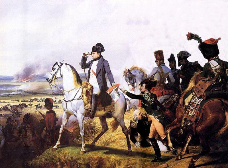 Bătălia de la Wagram (5 – 6 iulie 1809)-Napoleon urmărind înaintarea trupelor franceze, pe 6 iulie 1809, în momentele critice ale bătăliei. Odată ce linia lui Davout a trecut de turnul de la Markgrafneusiedl, Împăratul a ordonat atacul general - foto preluat de pe ro.wikipedia.org