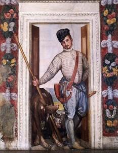 Paolo Veronese (n. 1528, Verona - d. 19 aprilie 1588, San Angelo) a fost un pictor italian din perioada târzie a Renașterii, marcând trecerea spre Manierism. Pe numele adevărat Paolo Caliari sau Cagliari, artistul a căpătat cu timpul numele de Veronese, după orașul în care s-a născut. Stabilit de tânăr la Veneția, Veronese este - alături de Tițian și Tintoretto - unul din cei mai remarcabili reprezentanți ai școlii venețiene de pictură a secolului al XVI-lea - in imagine, Paolo Veronese: Presupus autoportret. Frescă în Villa Barbaro, Masèr -  foto: ro.wikipedia.org