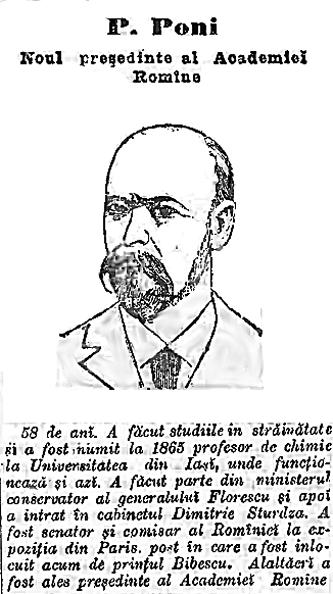 Portret al lui Petru Poni apărut în ziarul Adevărul în 1899, cu ocazia alegerii acestuia ca preşedinte al Academiei Române - foto: ro.wikipedia.org