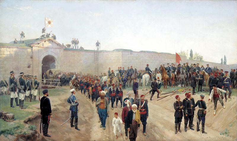 """Războiul Ruso-Turc (1877–1878) """"Capitularea turcilor la Nicopole"""" - foto preluat de pe ro.wikipedia.org"""