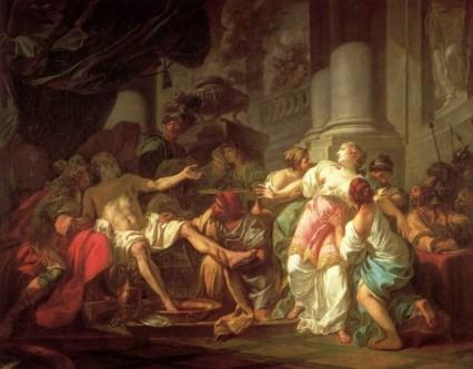 Lucius Annaeus Seneca (sau mai simplu Seneca sau Seneca cel Tânăr, n. cca. 4 î.Hr. – d. 65) a fost un filosof stoic roman, preceptor al împăratului Nero. Seneca a ocupat și funcții în administrația Imperiului. A fost fiul lui Seneca cel Bătrân (55 î.Hr.-41d.Hr.) - in imagine, Seneca in fata slujitorilor lui Nero isi taie venele si moare in chinuri . Paulina e obligata sa priveasca moartea sotului, apoi sa-si puna capat vietii singura.. Dupa unii, Seneca ar fi fost ametit cu aburi, apoi a luat otrava lui Socrate si a adormit pe veci - foto: radiometafora.ro