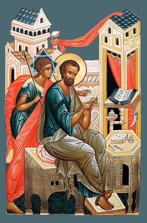 Sfântul, gloriosul și mult slăvitul Apostol și Evanghelist Marcu este autorul Evangheliei după Marcu, însoțitorul Apostolului Pavel (așa cum se povestește în Faptele Apostolilor), și se numără printre cei Șaptezeci de Apostoli. Adesea este numit Ion Marcu, și este considerat fondatorul Bisericii Alexandriei, totodată fiind și primul ei papă. Ca urmare, el este venerat în mod deosebit de Biserica din Alexandria (coptă) ca fondator al ei. Simbolul său de evanghelist este un leu. Biserica îl prăznuiește la 25 aprilie, la 27 aprilie și 27 septembrie împreună cu Aristarh și Zina, la 30 octombrie împreună cu Tertie, Iust, Artema și Cleopa și la 4 ianuarie împreună cu Cei Șaptezeci - foto: preluat de pe basilica.ro