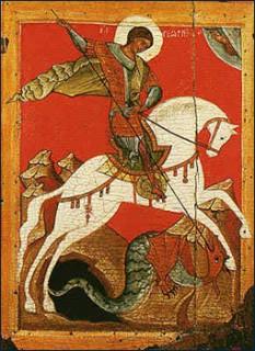 Sfântul Mare Mucenic Gheorghe (c. 275/280 – d. 23 aprilie 303) este un sfânt megalomartir, pomenit de aproape toate Bisericile tradiționale, de obicei pe data de 23 aprilie. Patron al unui număr de țări, regiuni și orașe printre care al Angliei. Sfântul Mare Mucenic Gheorghe/George s-a născut în Cappadocia, într-o familie creștină, și a trăit în timpul domniei împăratului Dioclețian. Mai multe date nu se cunosc cu certitudine, neexistând niciun document al epocii, care să conțină date despre viața sa. Ceea ce se știe despre el a fost scris ulterior. S-a înrolat în armata romană și, parcurgând ierarhia militară, Sf. Gheorghe s-a făcut remarcat prin îndemânarea cu care mânuia armele. În ciuda decretului împotriva creștinilor, emis de Dioclețian în 303, Sf. Gheorghe a ales să-și mărturisească public credința creștină. Din ordin imperial, sfântul a fost întemnițat și supus torturii pentru a-și renega credința. Loviri cu sulița, lespezile de piatră așezate pe piept, trasul pe roată, groapa cu var, încălțămintea cu cuie, băutura otrăvită, bătaia cu vâna de bou și toate celelalte torturi nu au reușit să-l facă să renunțe la credința sa - in imagine, O icoană din secolul al XV-lea reprezentându-l pe Sfântul Mare Mucenic Gheorghe doborând balaurul - foto: ro.wikipedia.org