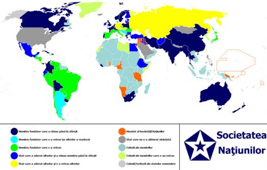Societatea Națiunilor sau Liga Națiunilor (Harta Membrilor între 1920-1945) - foto: ro.wikipedia.org