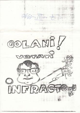 Caricatură difuzată în Piaţa Universităţii la 27 aprilie 1990- când am păstrat fluturaşul, am scris data la care l-am primit în partea de sus - Alexandru Cristian Surcel - foto: marturiilehierofantului.blogspot.ro