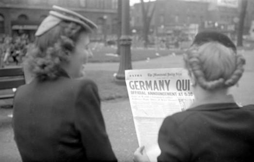 Pe prima pagină The Montreal Daily Star anunta predare germană. 07 mai 1945 - foto: ro.wikipedia.org