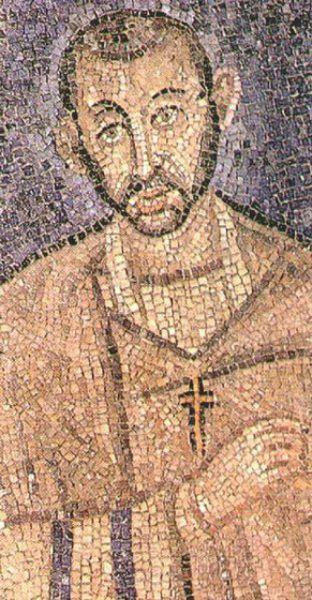 """Ambrozie al Milanului (* ca. 339/340, Colonia Augusta Trevorum, azi Trier - † 4 aprilie 397, Mediolanum, azi Milano), a fost unul dintre marii Sfinți Părinți ai Bisericii, episcop de Mediolanum (Milano) (374-397), teolog, autor al unui mare număr de scrieri apologetice, omiletice, de teologie morală etc., apărător al dreptei credințe împotriva arianismului, sabelianismului și a ereziei lui Eunomie. A fost foarte cunoscut pentru predicile sale, care au l-au influențat foarte mult și pe Fericitul Augustin de Hippona, ducând la convertirea acestuia la creștinism. Biserica Ortodoxă îl prăznuiește în ziua de 7 decembrie - (Aurelius Ambrosius, """"Ambrosius episcopus Mediolanensis"""", mozaic din biserica Sant'Ambrogio, Milano) foto preluat de pe ro.orthodoxwiki.org"""